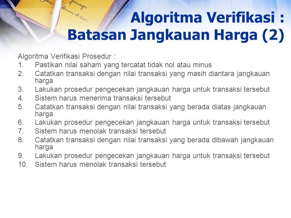 Algoritma Verifikasi : Batasan Jangkauan Harga (2)