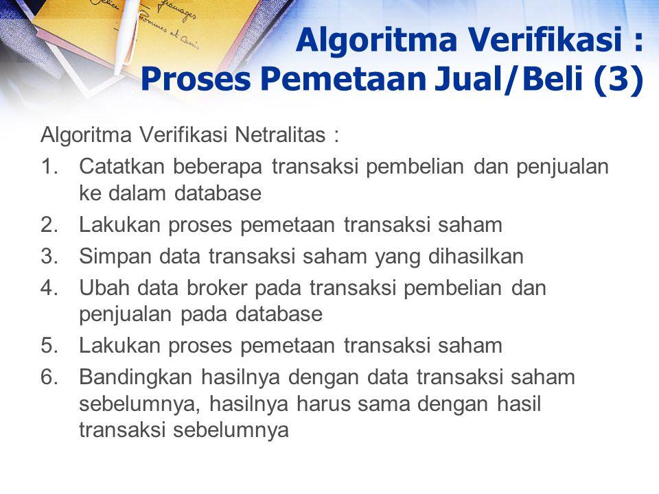 Algoritma Verifikasi : Proses Pemetaan Jual/Beli (3)