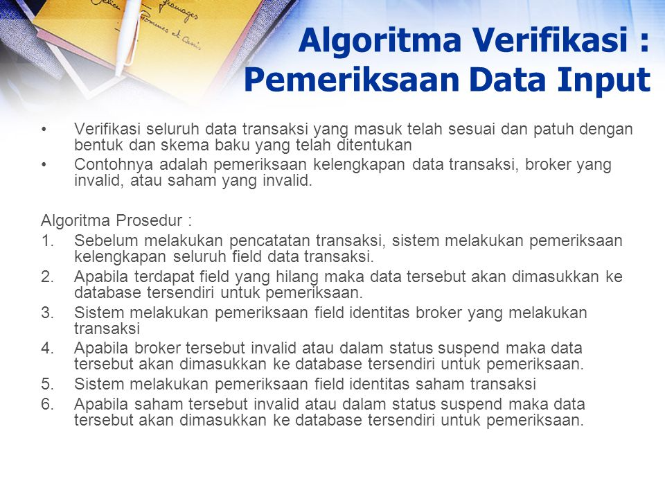 Algoritma Verifikasi : Pemeriksaan Data Input