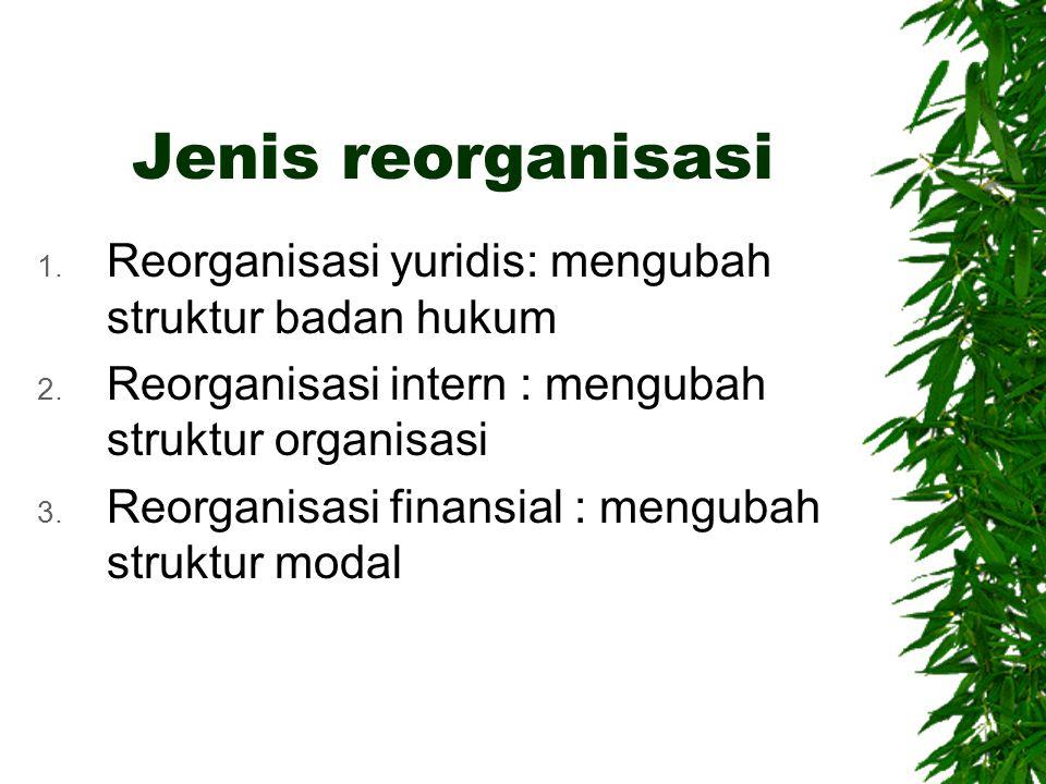 Jenis reorganisasi Reorganisasi yuridis: mengubah struktur badan hukum