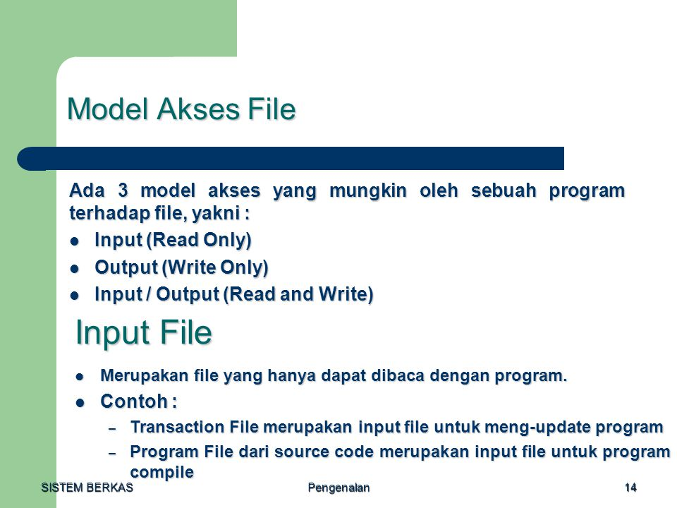 Input File Model Akses File