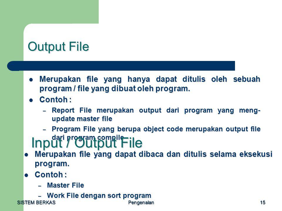 Input / Output File Output File