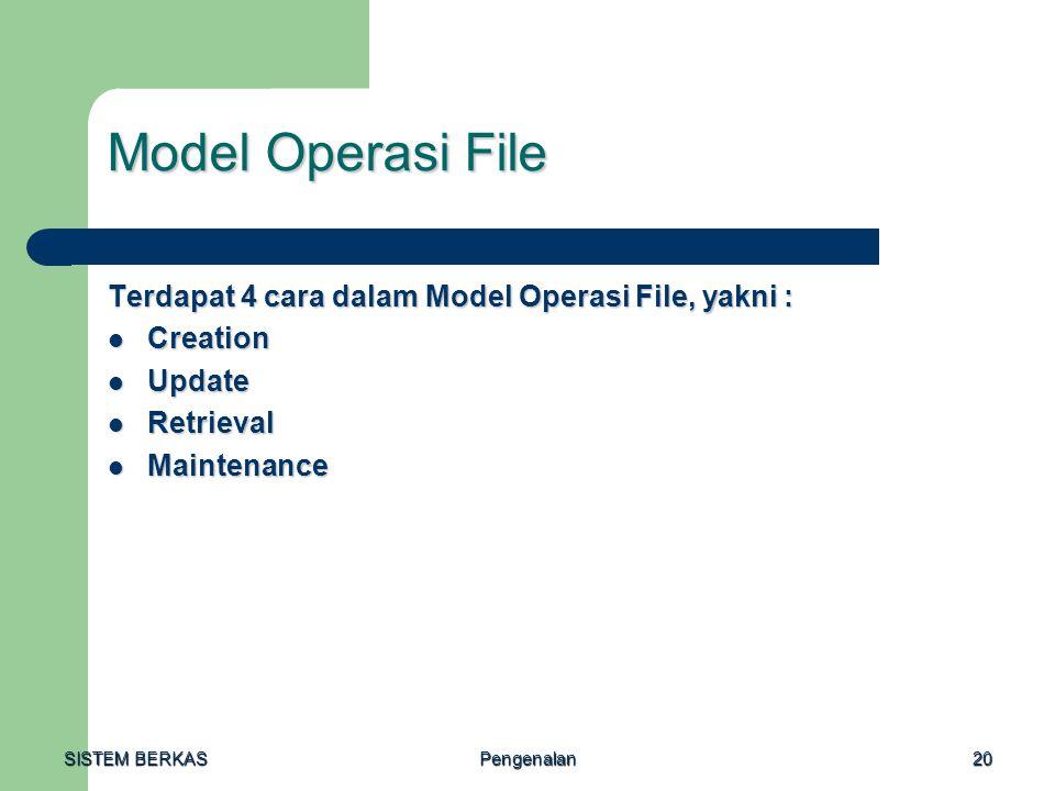 Model Operasi File Terdapat 4 cara dalam Model Operasi File, yakni :