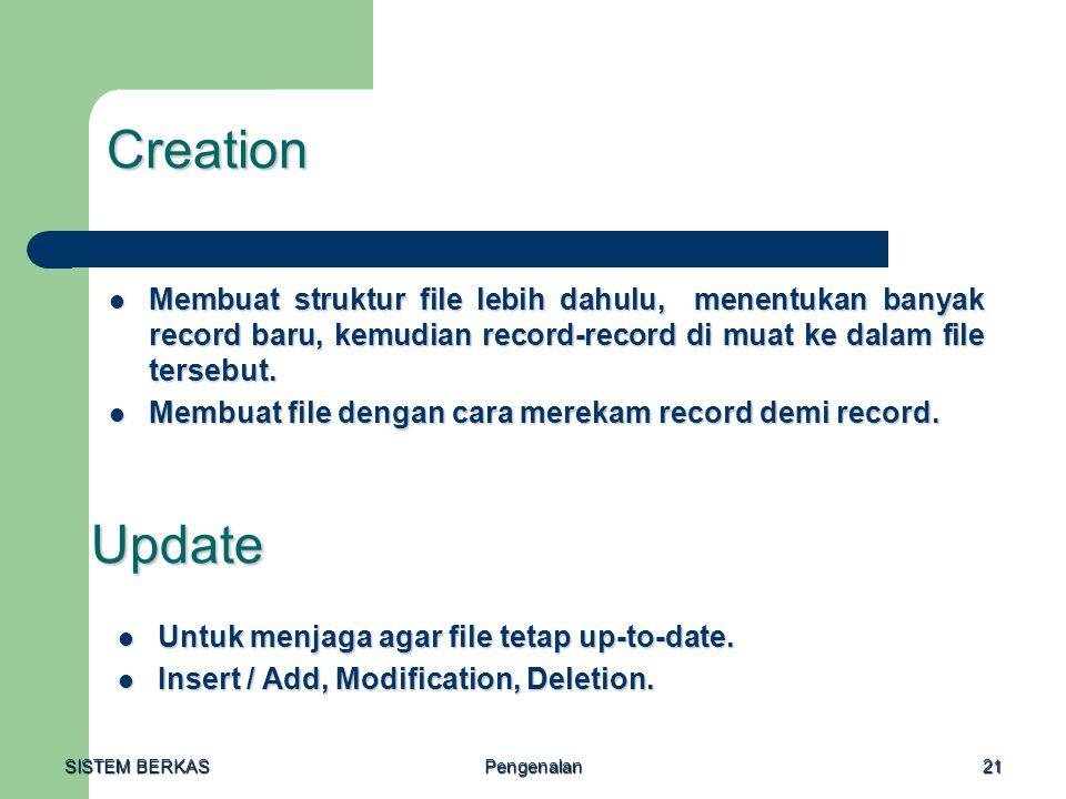 Creation Membuat struktur file lebih dahulu, menentukan banyak record baru, kemudian record-record di muat ke dalam file tersebut.