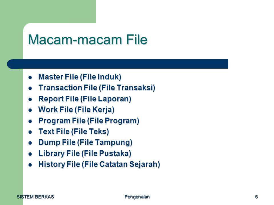 Macam-macam File Master File (File Induk)