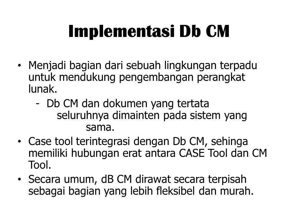 Implementasi Db CM Menjadi bagian dari sebuah lingkungan terpadu untuk mendukung pengembangan perangkat lunak.