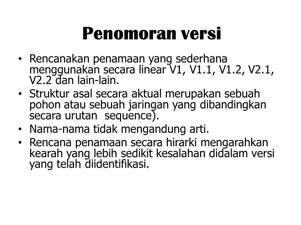 Penomoran versi Rencanakan penamaan yang sederhana menggunakan secara linear V1, V1.1, V1.2, V2.1, V2.2 dan lain-lain.