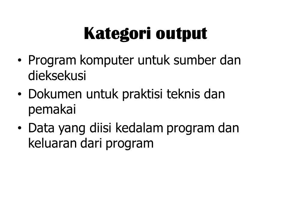 Kategori output Program komputer untuk sumber dan dieksekusi