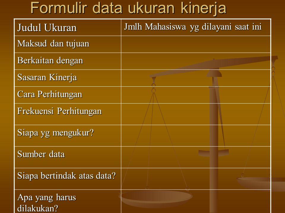 Formulir data ukuran kinerja