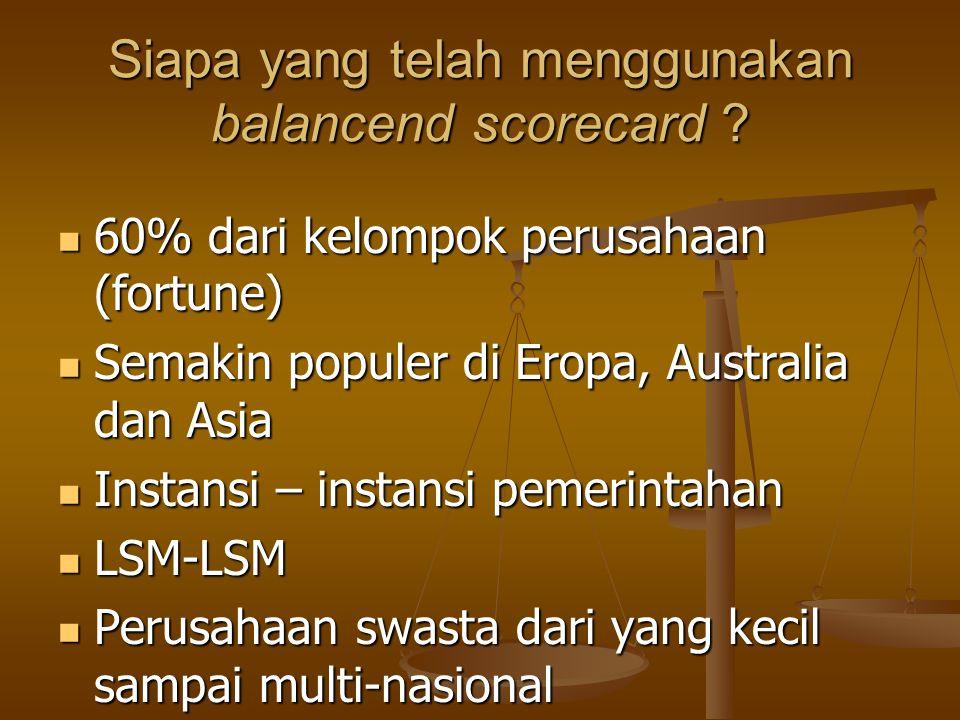 Siapa yang telah menggunakan balancend scorecard