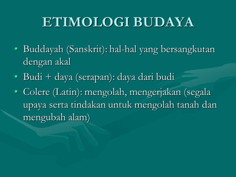 ETIMOLOGI BUDAYA Buddayah (Sanskrit): hal-hal yang bersangkutan dengan akal. Budi + daya (serapan): daya dari budi.