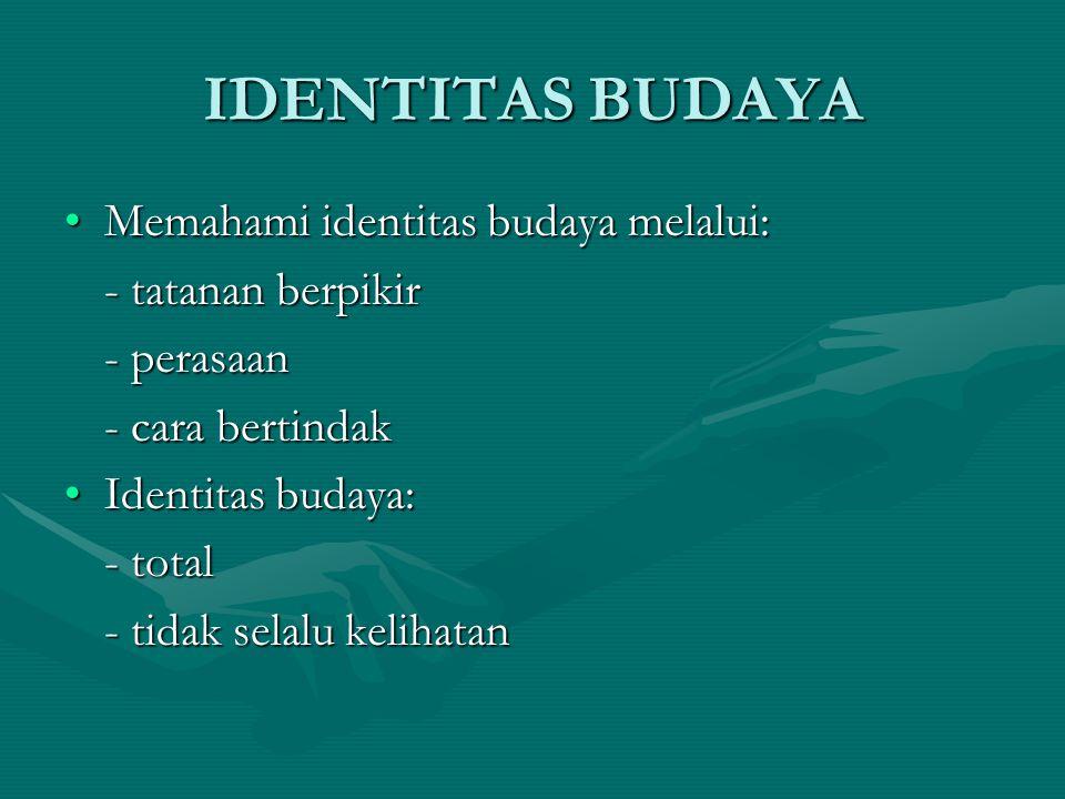 IDENTITAS BUDAYA Memahami identitas budaya melalui: - tatanan berpikir