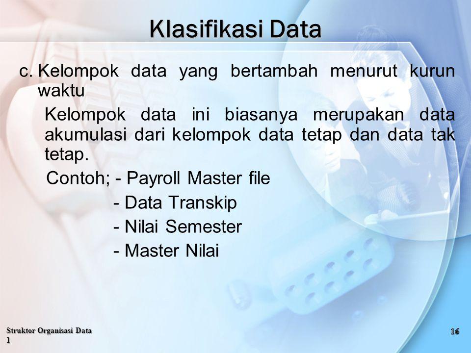 Klasifikasi Data Kelompok data yang bertambah menurut kurun waktu