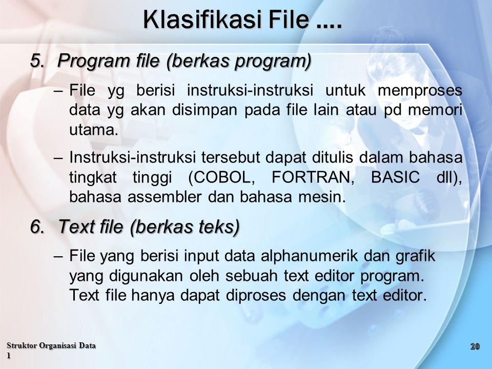 Klasifikasi File …. Program file (berkas program)
