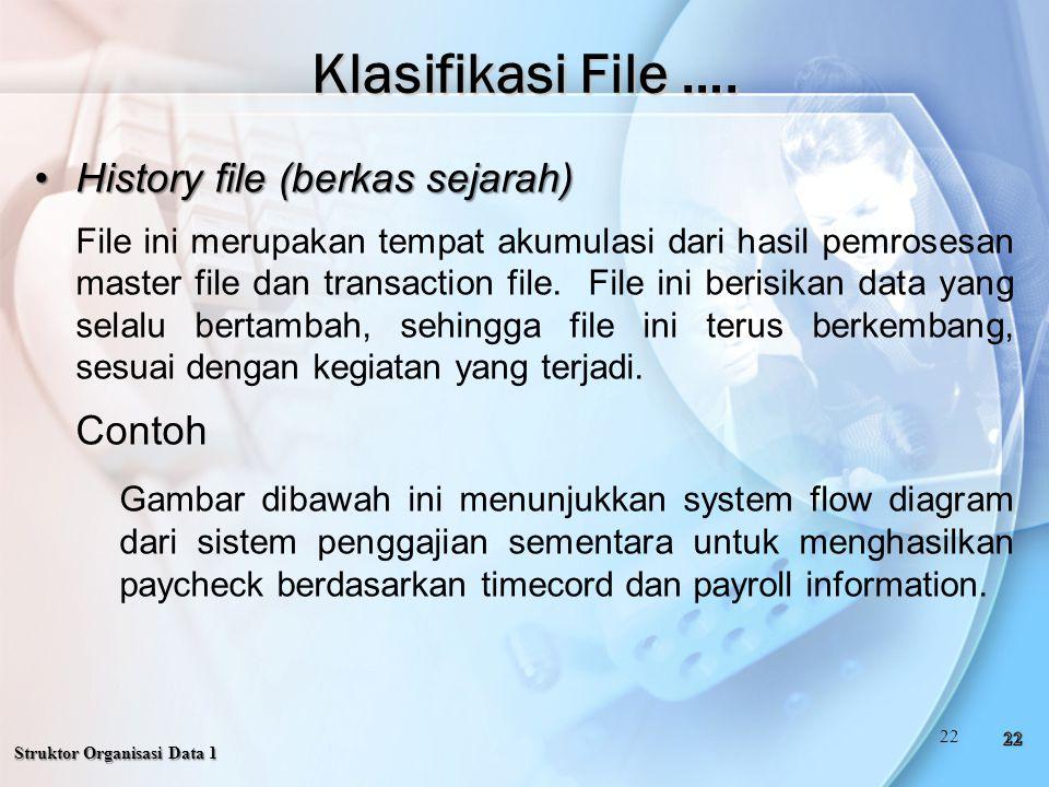 Klasifikasi File …. History file (berkas sejarah) Contoh
