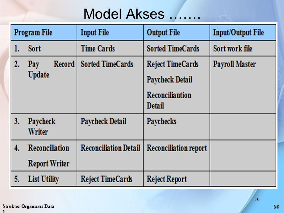 Model Akses ……. Struktor Organisasi Data 1 30