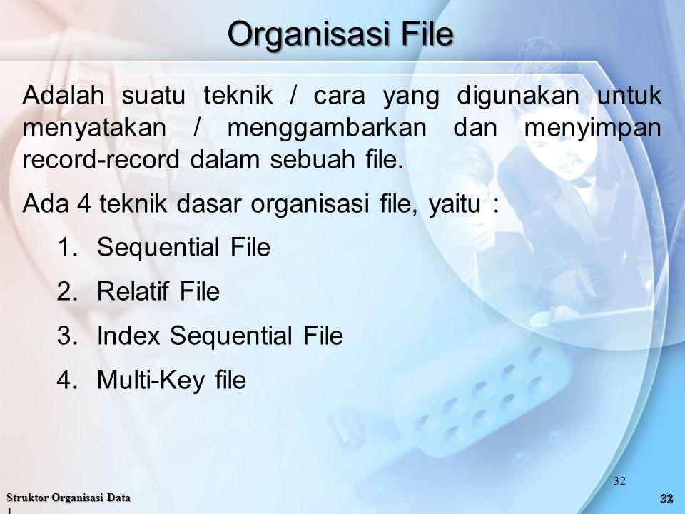 Organisasi File Adalah suatu teknik / cara yang digunakan untuk menyatakan / menggambarkan dan menyimpan record-record dalam sebuah file.