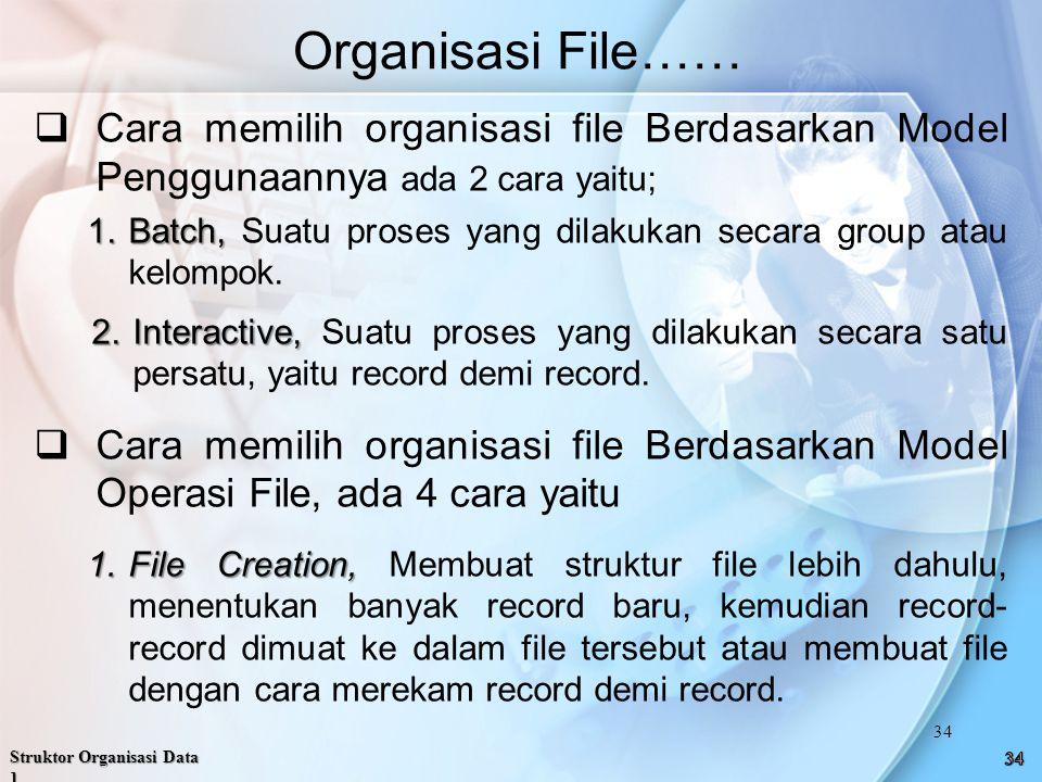 Organisasi File…… Cara memilih organisasi file Berdasarkan Model Penggunaannya ada 2 cara yaitu;
