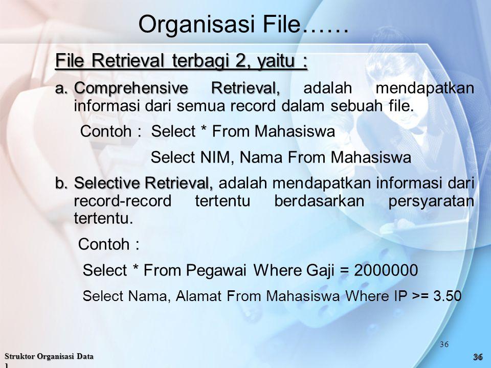 Organisasi File…… File Retrieval terbagi 2, yaitu :