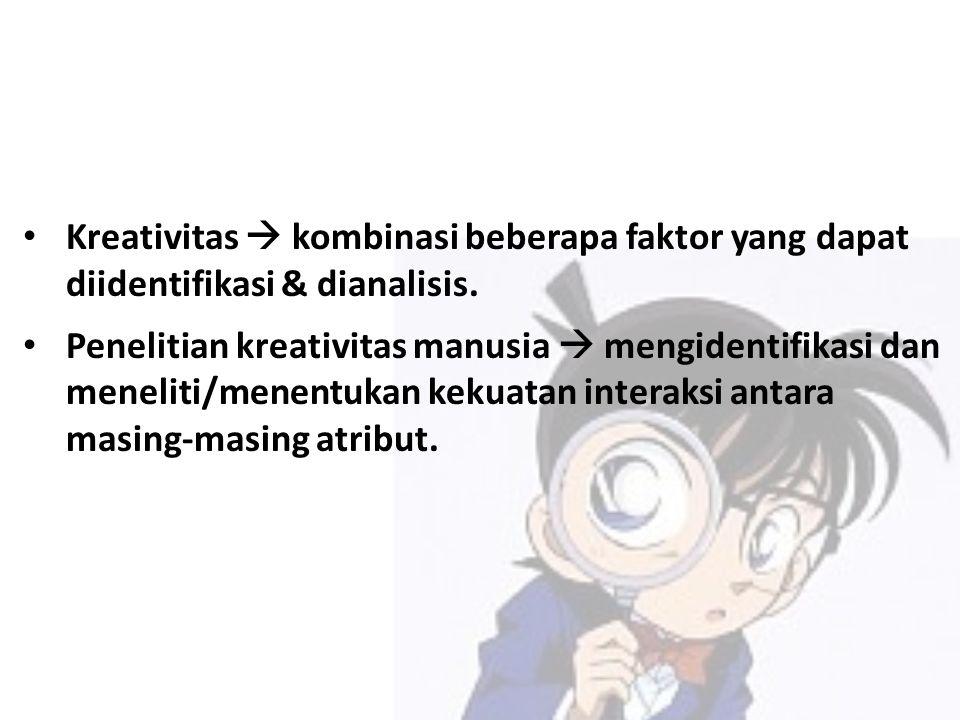 Kreativitas  kombinasi beberapa faktor yang dapat diidentifikasi & dianalisis.