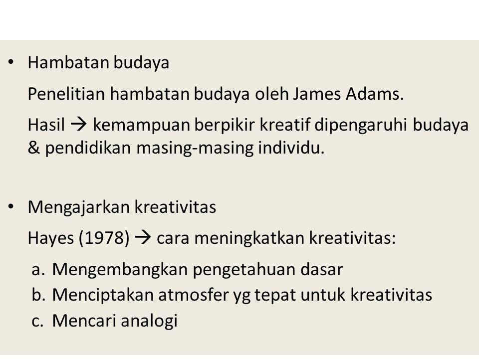 Hambatan budaya Penelitian hambatan budaya oleh James Adams.