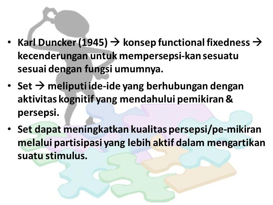 Karl Duncker (1945)  konsep functional fixedness  kecenderungan untuk mempersepsi-kan sesuatu sesuai dengan fungsi umumnya.