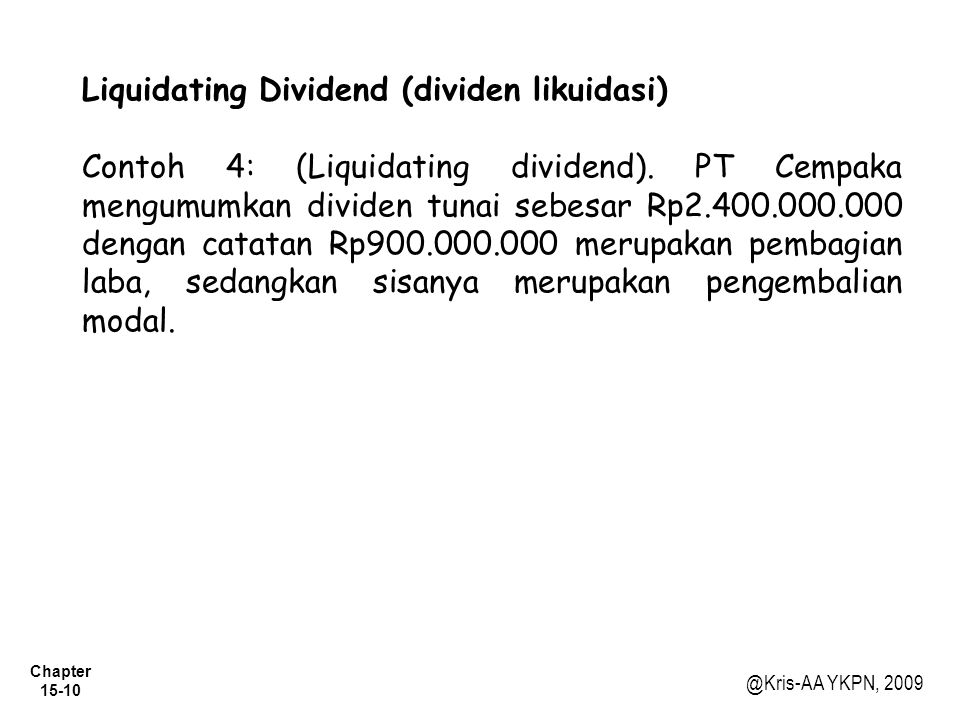 Liquidating Dividend (dividen likuidasi)