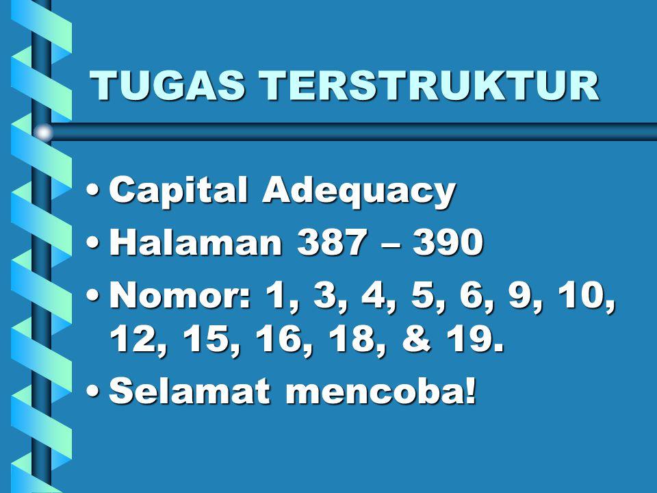 TUGAS TERSTRUKTUR Capital Adequacy Halaman 387 – 390