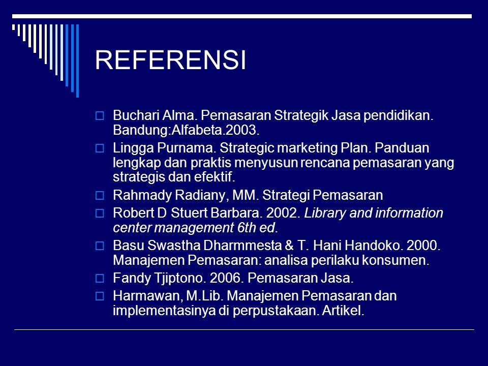 REFERENSI Buchari Alma. Pemasaran Strategik Jasa pendidikan. Bandung:Alfabeta.2003.