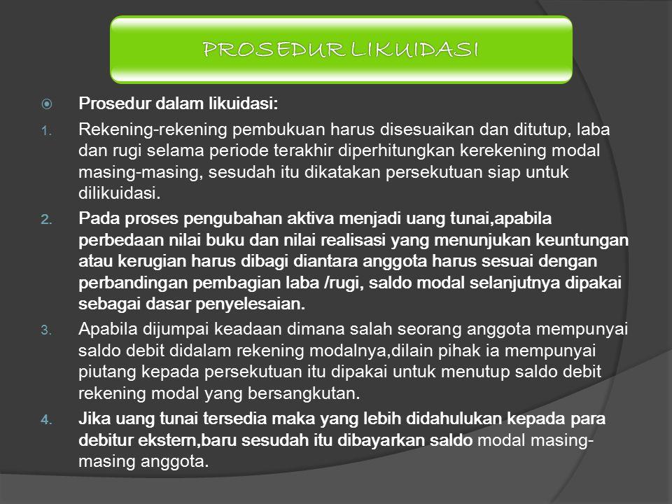 PROSEDUR LIKUIDASI Prosedur dalam likuidasi: