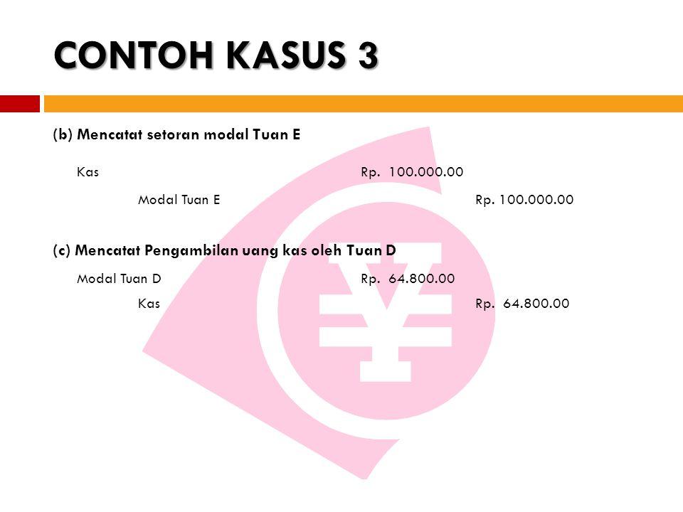 CONTOH KASUS 3 Kas Rp. 100.000.00 (b) Mencatat setoran modal Tuan E