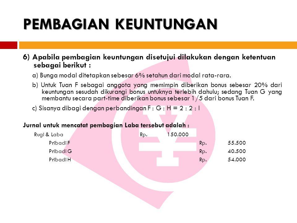 PEMBAGIAN KEUNTUNGAN 6) Apabila pembagian keuntungan disetujui dilakukan dengan ketentuan sebagai berikut :
