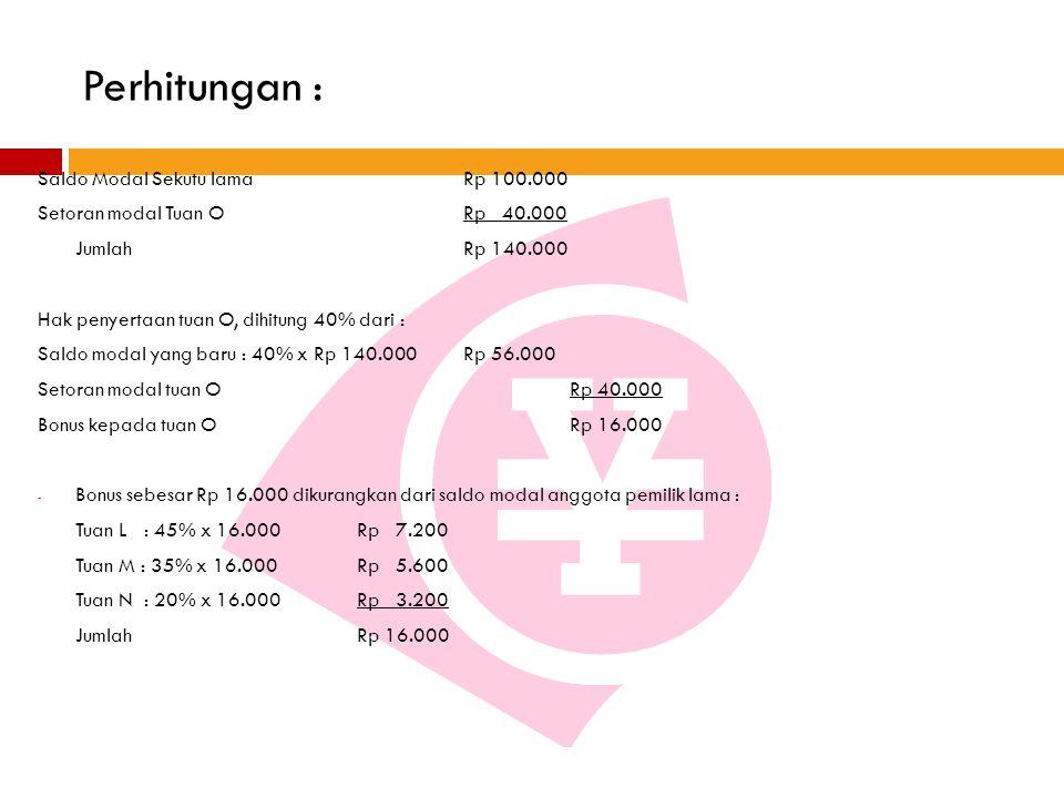 Perhitungan : Saldo Modal Sekutu lama Rp 100.000