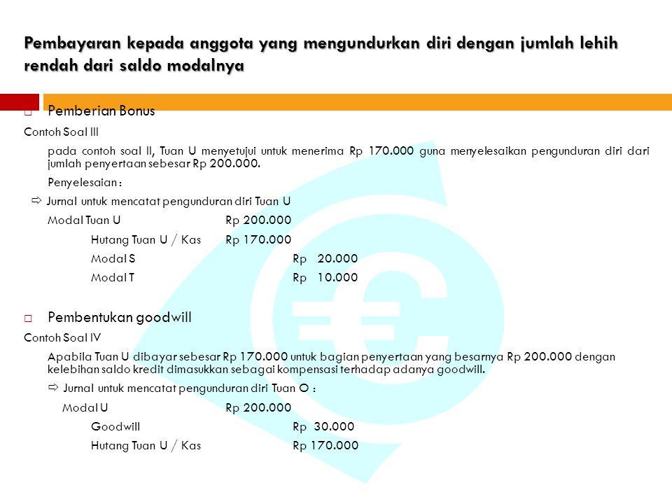 Pembayaran kepada anggota yang mengundurkan diri dengan jumlah lehih rendah dari saldo modalnya