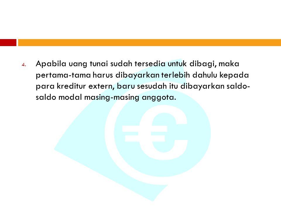 Apabila uang tunai sudah tersedia untuk dibagi, maka pertama-tama harus dibayarkan terlebih dahulu kepada para kreditur extern, baru sesudah itu dibayarkan saldo- saldo modal masing-masing anggota.