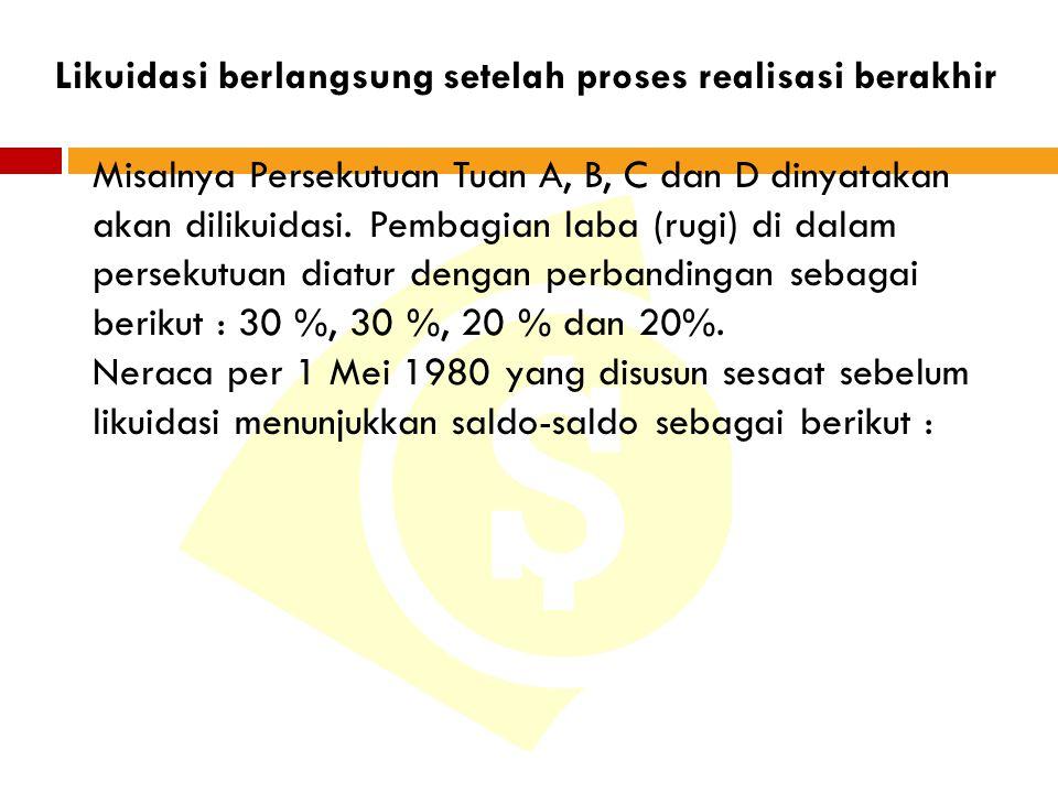 Likuidasi berlangsung setelah proses realisasi berakhir Misalnya Persekutuan Tuan A, B, C dan D dinyatakan akan dilikuidasi.