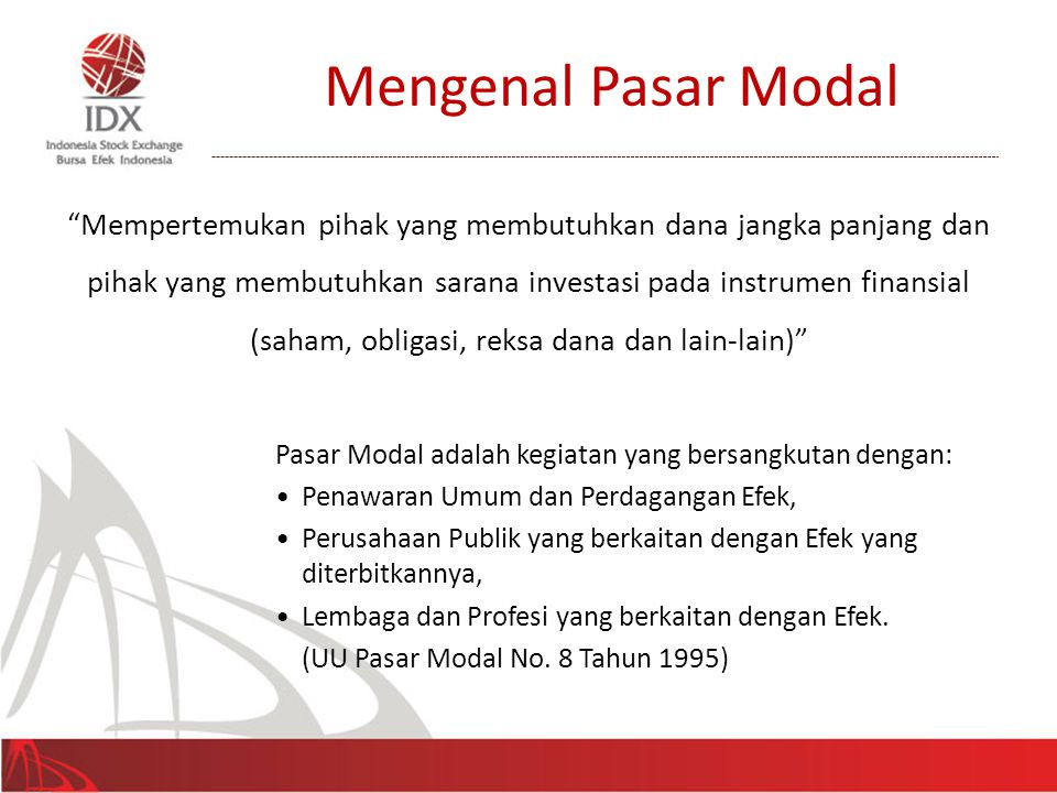 Mengenal Pasar Modal