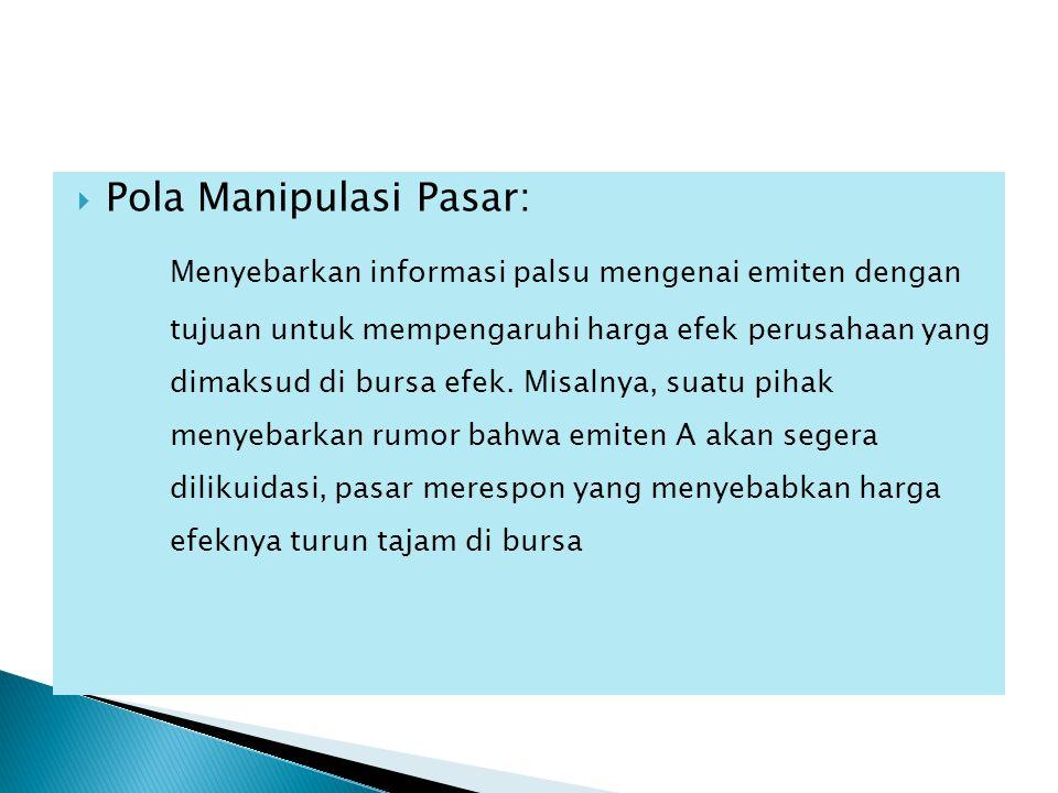 Pola Manipulasi Pasar: