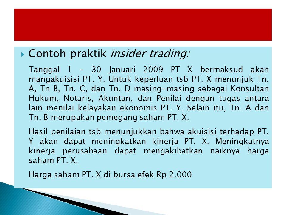 Contoh praktik insider trading: