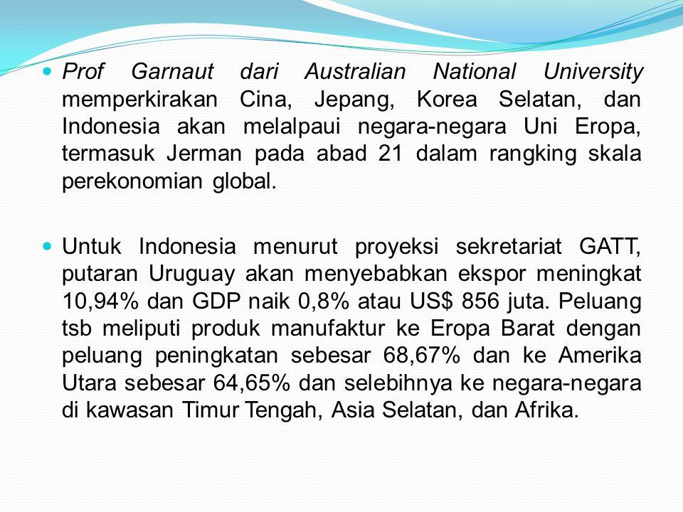 Prof Garnaut dari Australian National University memperkirakan Cina, Jepang, Korea Selatan, dan Indonesia akan melalpaui negara-negara Uni Eropa, termasuk Jerman pada abad 21 dalam rangking skala perekonomian global.