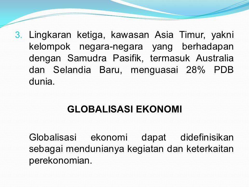 Lingkaran ketiga, kawasan Asia Timur, yakni kelompok negara-negara yang berhadapan dengan Samudra Pasifik, termasuk Australia dan Selandia Baru, menguasai 28% PDB dunia.