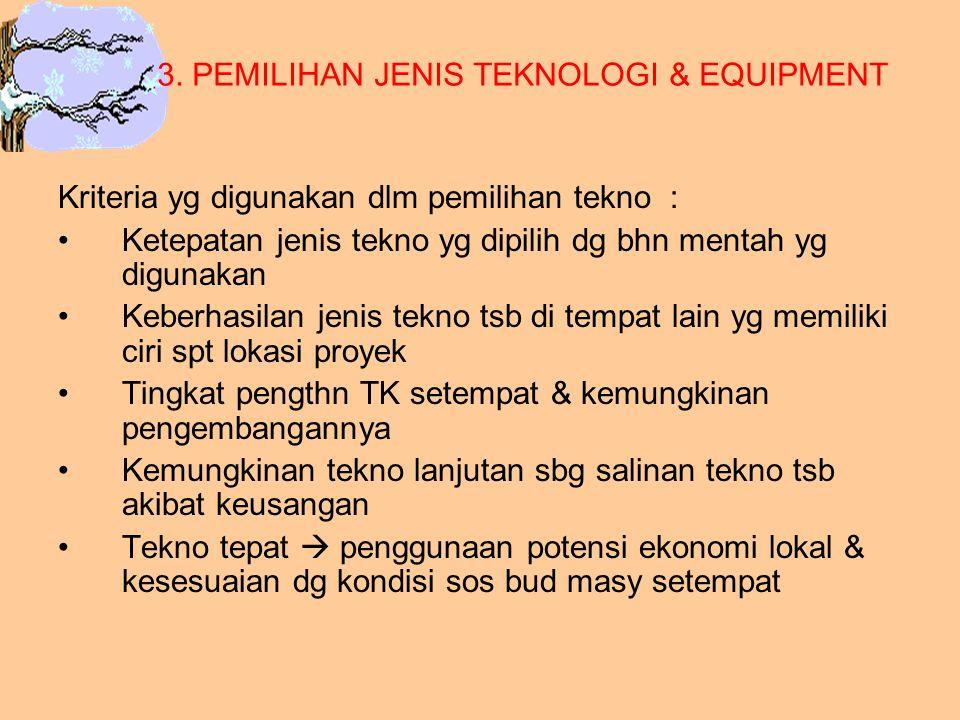 3. PEMILIHAN JENIS TEKNOLOGI & EQUIPMENT
