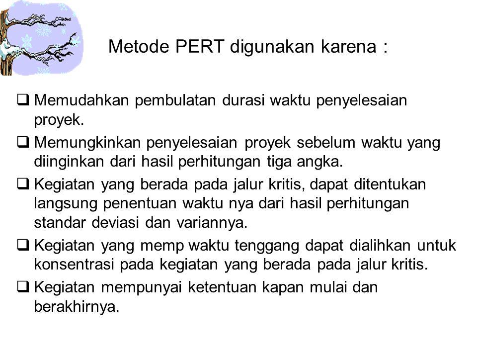 Metode PERT digunakan karena :