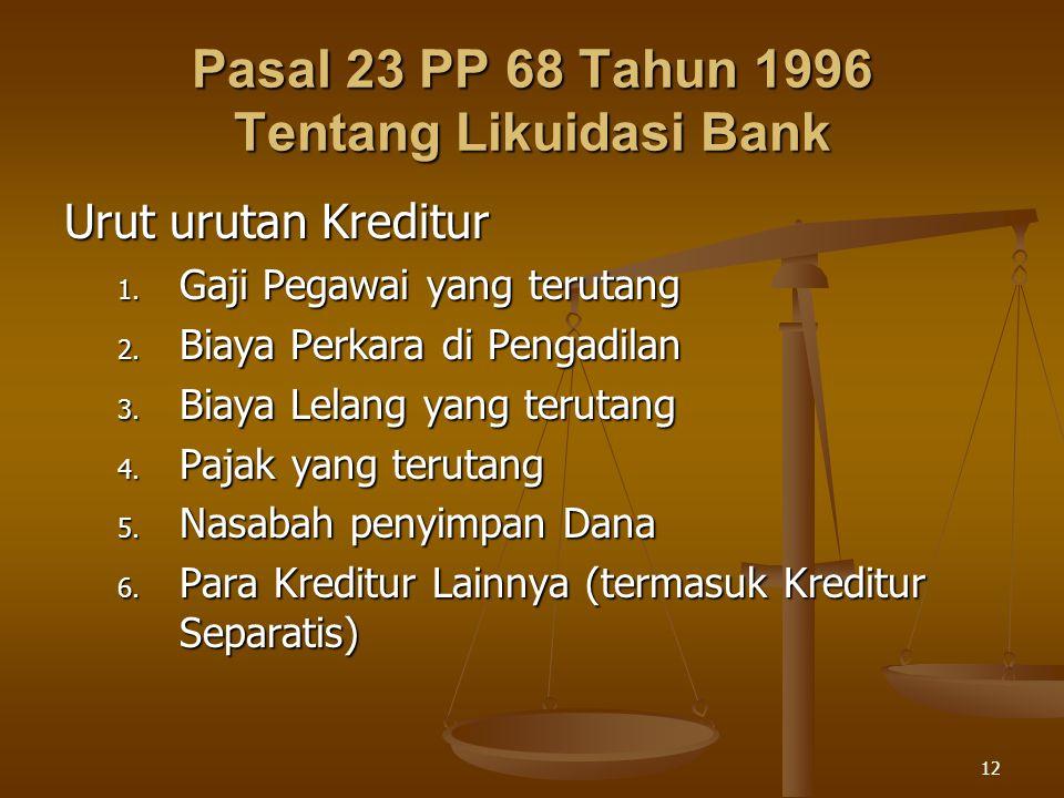 Pasal 23 PP 68 Tahun 1996 Tentang Likuidasi Bank