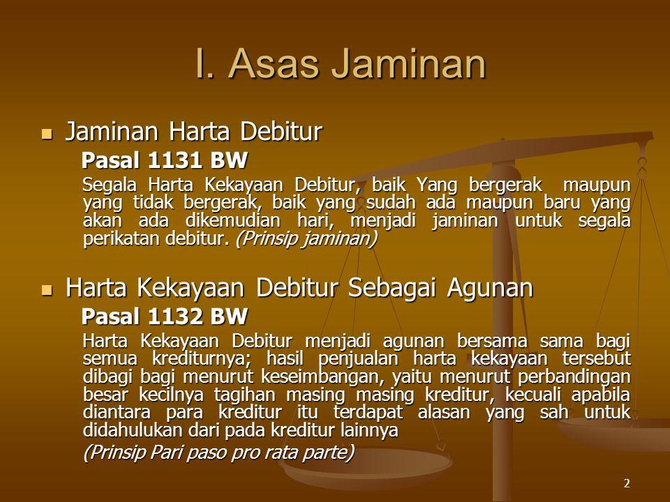 I. Asas Jaminan Jaminan Harta Debitur