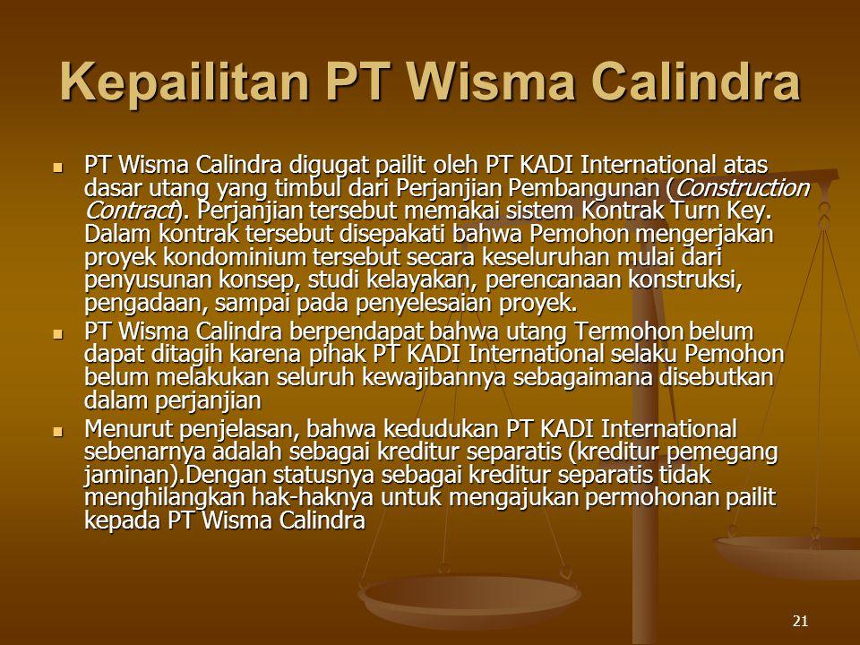 Kepailitan PT Wisma Calindra