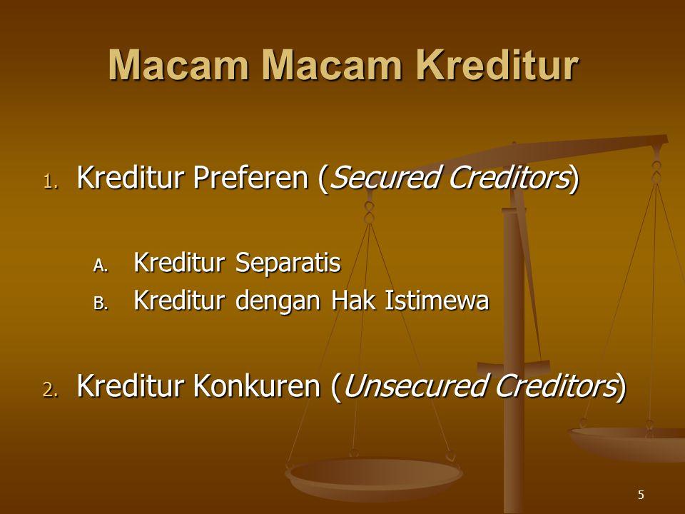 Macam Macam Kreditur Kreditur Preferen (Secured Creditors)