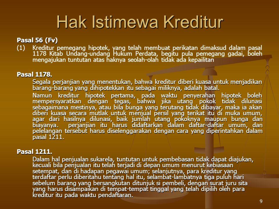 Hak Istimewa Kreditur Pasal 56 (Fv)