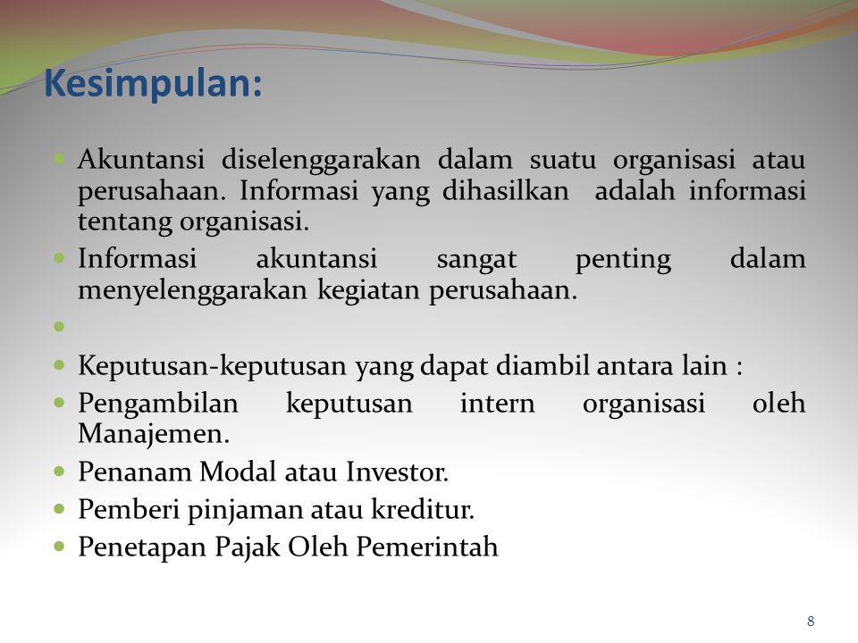 Kesimpulan: Akuntansi diselenggarakan dalam suatu organisasi atau perusahaan. Informasi yang dihasilkan adalah informasi tentang organisasi.