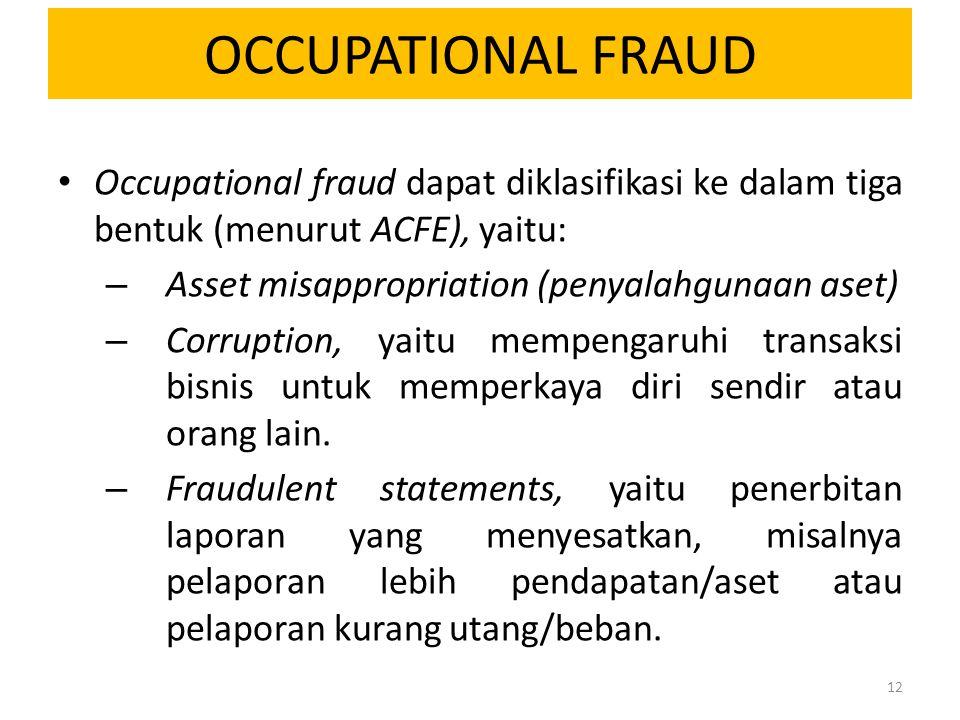 OCCUPATIONAL FRAUD Occupational fraud dapat diklasifikasi ke dalam tiga bentuk (menurut ACFE), yaitu: